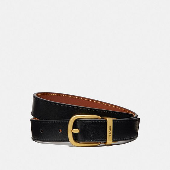 brown black leather belt coach